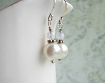 Milky White Swarovski Pearl Earrings, Opal White Swarovski Earrings, Made In Sweden, Swedish Jewelry Design