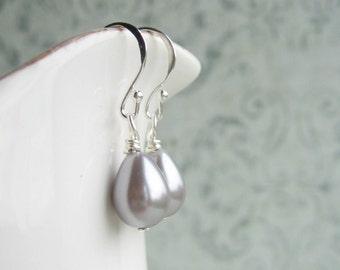 Silver Grey Pearl Earrings, Grey Earrings, Grey Drop Earrings, Swedish Jewelry Design, Made In Sweden, Scandinavian Jewelry