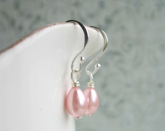 Pink Drop Earrings, Pink Earrings, Vintage Style, Swedish Jewelry Design, Made In Sweden, Scandinavian Jewelry Design