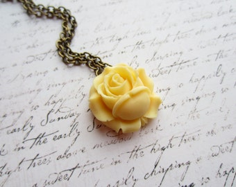 Yellow Rose Necklace, Vintage Bronze Necklace, Shabby Chic Jewelry, Swedish Jewelry, Made in Sweden,