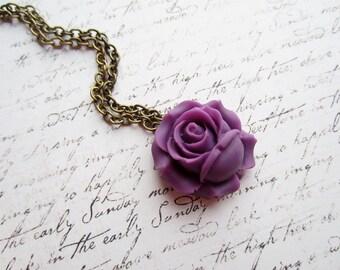 Purple Rose Vintage Bronze Necklace, Purple Necklace, Purple Rose Necklace, Swedish Jewelry Design, Made in Sweden