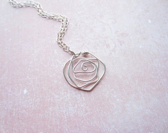 Silver Wire Rose Necklace, Flower Necklace, Floral Necklace, Swedish Jewelry Design, Scandinavian Jewelry