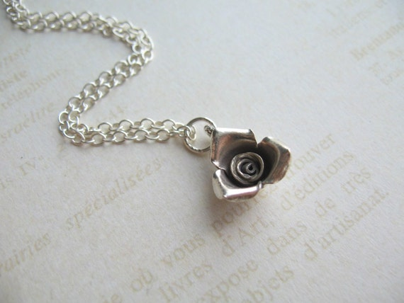 Silver Rose Flower, Wedding Necklace, Swedish Jewelry, Sweden Jewelry, Made in Sweden