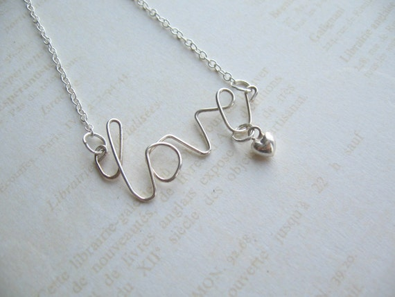 Silver Wire Necklace, Love Necklace, Handwriting Pendant, Swedish Jewelry, Made in Sweden, Scandinavian Jewelry Design