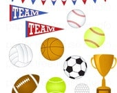 Clip Art Set - All Star Sports - Soccer, Football, Tennis, Basketball, Volley Ball, Golf - 12 Print Ready Files - JPG and PNG Format - ID166