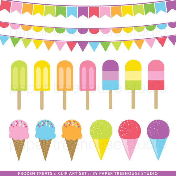 Clip Art Set Ice Cream Popsicle and Snow Cones Colorful
