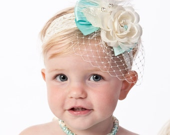 Baby Headband, girls headband, Vintage inspired on stretch lace