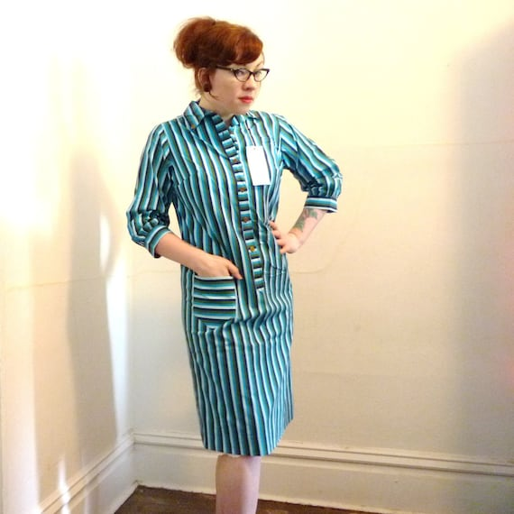 Vintage 1970s striped dress . Easy Alice . 70s blue green teal striped shift with original tags MD/LG