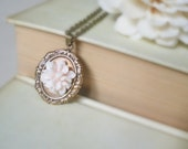Pink peony - romantic necklace Soft pastel pink resin flower antiqued brass lace doily cameo bezel gift for her hostess bride bridal