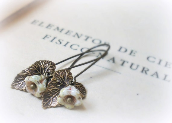 Vitis leaves and flowers Leafy earrings Glass flowers antiqued ox brass vine leaf Gift for her under 20,gardener, nature inspired