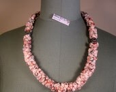 SALE free shipping - Necklace textil lycra blossoms pink resin beads handmade
