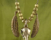"""Raven Skull with Feathers Bronze Bird Skull and Feather Pendant on 20"""" Antique Bronze Chain"""