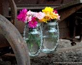 Hanging Mason Jar Flower Vases With Frog Lids - Set of 2