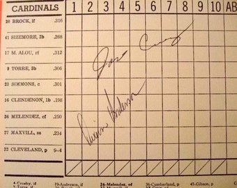 Vintage Jose Cruz Autographed Scorecard from 1972 game between St Louis Cardinals and Houston Astros, NL All Star, Gift for Him, Christmas