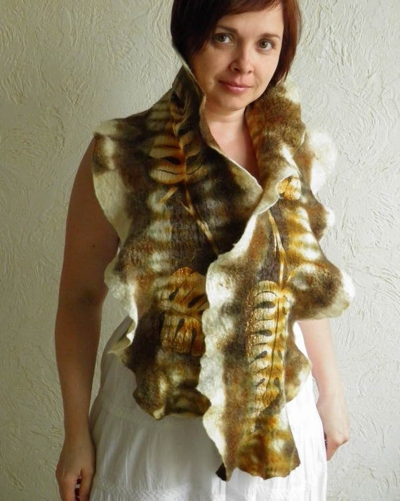 Nuno Felted Wool Scarf - hand dyed nuno felt - Leaves  - in brown, olive and gold, long scarf