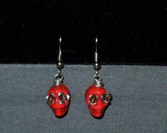Red Velvet Classic Pinup Sugar Skull Earrings