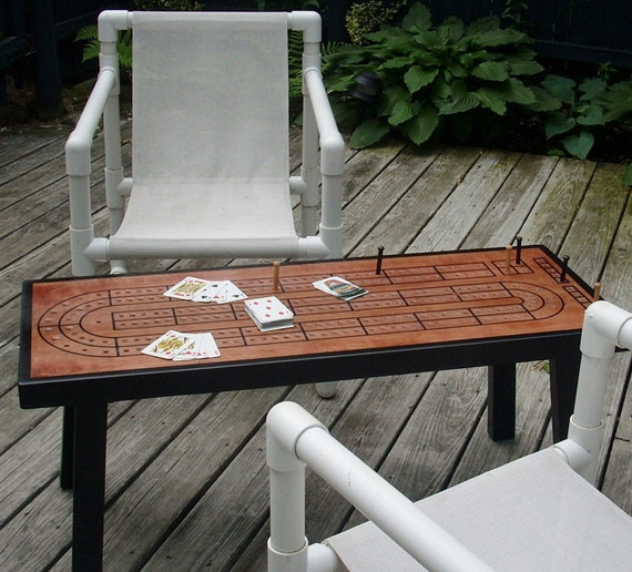 CRIBBAGE TABLE, Cribbage Board, Red Chestnut Minwax with Black Border, Gift for Dad, Man Cave, Cribbage, Game Table
