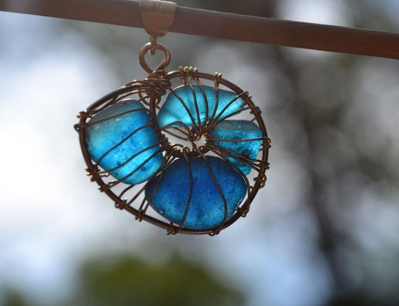Aqua/Teal Genuine Sea Glass Gold plated  Wire Wrapped Nautilus Shell Pendant and chain
