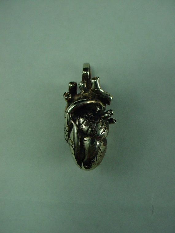 Solid Sterling Silver Anatomical Human Heart Accurate