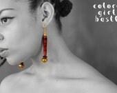 Magenta Paper Bead Earrings