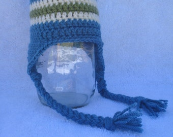 Dusty blue earflap hat with cream and green stripe-Sizes Newborn to Adult