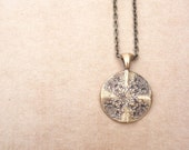 Victorian lace necklace pendant made from vintage button mold steampunk style