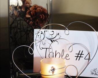 CandleHolder Centerpiece for Wedding Reception, Wire Hearts, Glass Votive Holders, Table Name Card, Table Decoration for Special Occasion