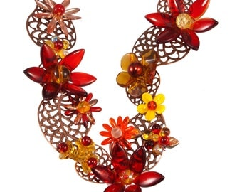 Necklace and earrings set - Autumn in bloom