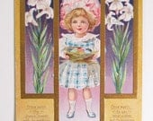 Vintage Easter Girl with Nest and Lilies Victorian Embossed Postcard