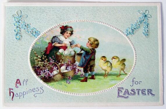 Vintage Victorian Easter Embossed Postcard Made in Germany