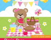 Picnic Bear - Digital - Clipart and Digital Paper Set - Bear clip art