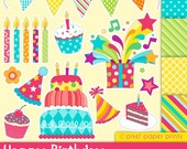 Happy Birthday - Digital paper and clip art set