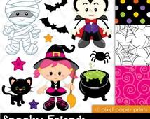Spooky Friends - Halloween clipart - Clip art and Digital paper set