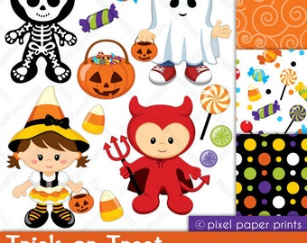 Trick or Treat - Digital paper and clip art set - Halloween