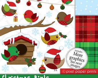 Christmas clipart - Christmas Birds - Clip art and Digital paper set