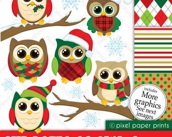 Christmas Owls - Digital paper and clip art set