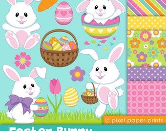 Easter Bunny - Clip art and Digital paper set