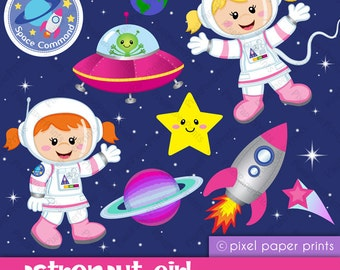 Astronaut Girl - Clipart and Digital paper set