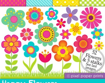 Flower clipart- HAPPY FLOWERS - Digital paper and clip art set
