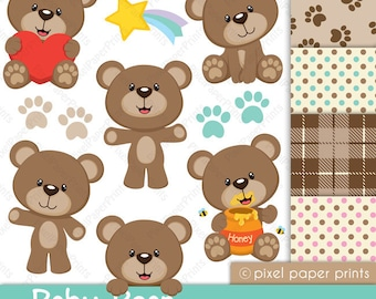 Baby Bear - Clip Art and Digital Paper Set