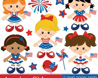 American Girls - 4th of July - Digital paper and clip art set
