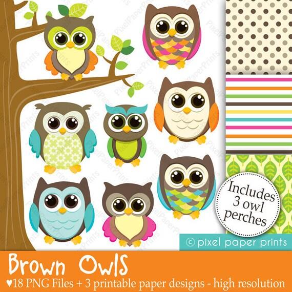 Brown Owls - Clip art and Digital paper set - Owl clipart