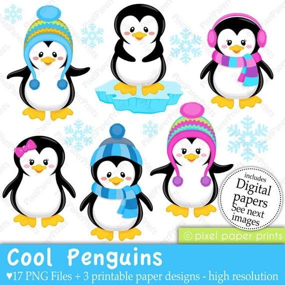 Cool Penguins Clip art and Digital paper set Penguin