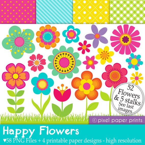 Happy Flowers - Digital paper and clip art set - 58 png images