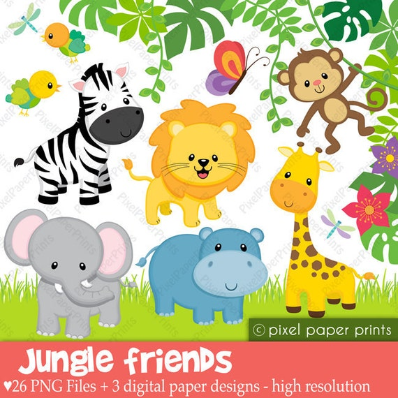 Jungle Friends - Animal clipart - Clip art and Digital paper set
