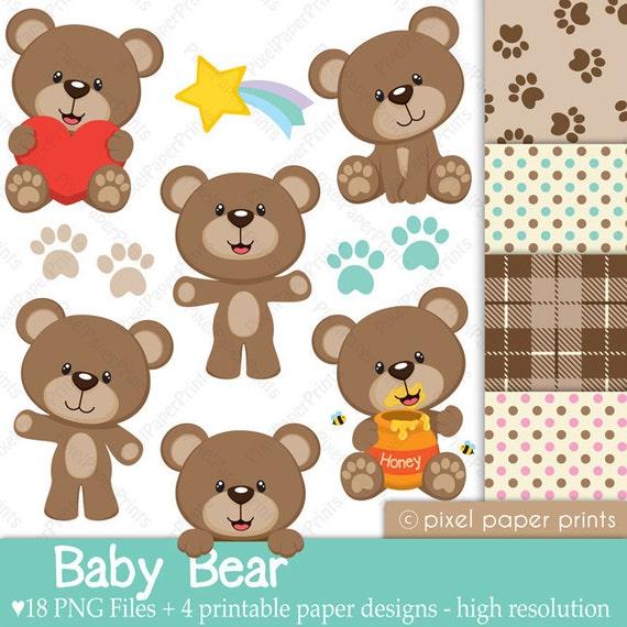 Osito Bebé Set de Clip Art y Papeles Digitales