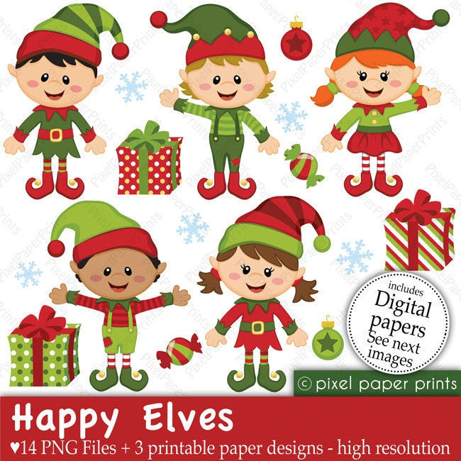 Clip Art Elves Clipart elves clip art etsy christmas clipart happy and digital paper set
