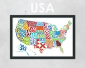 "Typography Map of the United States - Multi-Colored - 11 x 17"" Print"