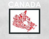 "Typography Map of Canada - 10 x 13"" Print"