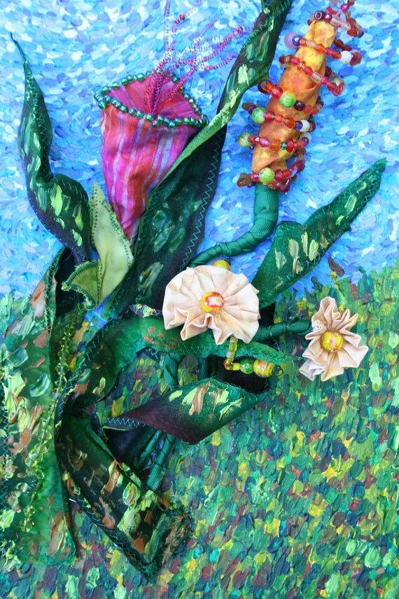 Original Acrylic Painting on Stretched Canvas - Swaying Meadow - Hand Beaded Fabric Flowers 20 x 10